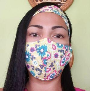 Handmade Face Mask & Headband Set Tropical Floral